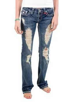 LA Idol Ladies Fray Boot Cut Jeans