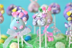 Pastel Bunnies: My Little Cupcake's bunny cake pops use pastel candy corn to create some seriously cute ears.  Source: My Little Cupcake