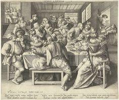 Nicolaes de Bruyn | Een huis vol feestrumoer, Nicolaes de Bruyn, Robert de Baudous, 1581 - 1656 | Verbeelding van één van de wijsheden volgens het boek Prediker (nr. 7). In een interieur zit een feestend en vrijend gezelschap van mannen en vrouwen aan een tafel die vol staat met lekkernijen en drank. Volgens Prediker gedragen zij zich dwaas omdat zij genoegen scheppen in een huis vol plezier. In de marge onder een vers met zes regels Latijn.