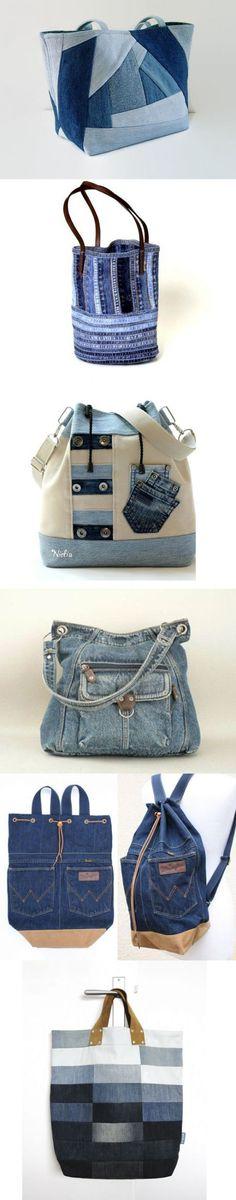 Prikolnye las bolsas jeans y las mochillas. Patchwork Bags, Quilted Bag, Mochila Jeans, Denim Purse, Denim Ideas, Denim Crafts, Old Jeans, Recycled Denim, Fabric Bags