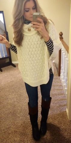 Poncho, old navy striped top, skinny jeans, black boots