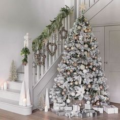 How to turn your home into a winter wonderland? A snowy white, flocked or pure white Christmas tree is a nice idea. Take a look at these white winter wonderland christmas tree decor ideas that trending