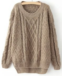 Vintage Round Neck Long Sleeve Solid Color High-Low Hem Women's SweaterVintage Sweaters | RoseGal.com
