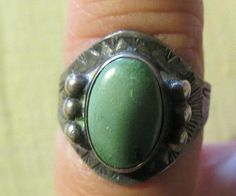 Vintage Native American Indian Sterling and Turquoise Ring OLD PAWN very small size 4.