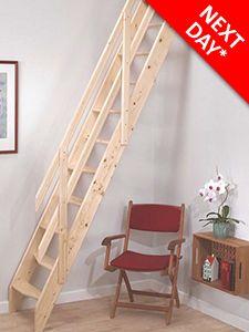Amsterdam Wooden Loft Stair   Ranch Style Handrail   Free 24hr UK
