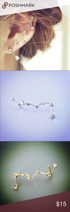 crystal studded ear cuff Available in gold and silver colors. One piece Jewelry Earrings