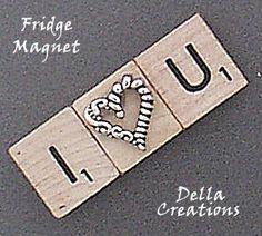 Scrabble Tile Refrigerator Magnet I by WinterberryOriginals Scrabble Letter Crafts, Scrabble Ornaments, Scrabble Tile Crafts, Scrabble Board, Scrabble Letters, Scrabble Coasters, Homemade Art, Homemade Gifts, Diy Gifts