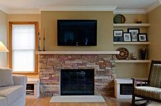 stone fireplace small room half wall - Google Search