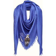 KARLITO SHAWL ❤ liked on Polyvore featuring accessories, scarves, embroidered shawls, blue scarves, blue shawl, embroidered scarves and shawl scarves