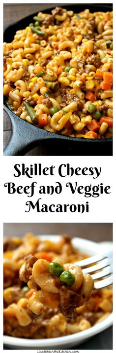 This Skillet Cheesy Beef and Veggie Macaroni is ready to eat in only 20 minutes! It's a delicious meal that's perfect for the entire family, including picky eaters!