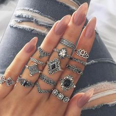 VKME Vintage rings for women Ring Set Women Bohemian Opal Metal Drop shipping Finger Women's Jewelry Gifts Fossil Ring, White Gold Rings, Silver Rings, Copper Rings, Stone Rings, Black Rings, Mid Rings, Jewelry Gifts, Fine Jewelry