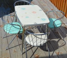Vintage Child Size Retro Atomic Blue Formica Kitchen Table Matching Chairs   eBay