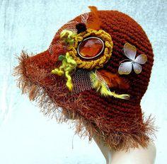 Crochet hat, cloche hat, hats for women, orange hat, womens hat, bucket hat, dressy hat