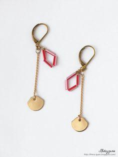 Geometric Rhombus Charm Dangle Chain Earrings - Dainty Handmade Jewelry - Gold Geometric Charm Earrings - Minimal Everyday Jewelry