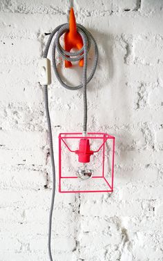 CUBE LAMP with textile cable switch and plug  neon by lacasadecoto