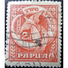 Papua, New Guinea, Bird Of Paradise, Postage Stamp two pence, used