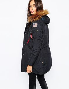 Alpha Industries   Alpha Industries Polar Parka Coat With Faux Fur Hood & Patch Detail at ASOS