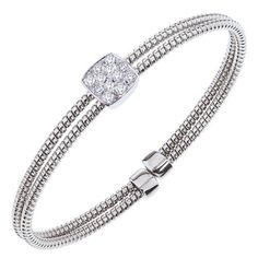 Ben Garelick 0.45 Carat Diamond Bangle Cuff Double Row Bracelet in 18K White Gold