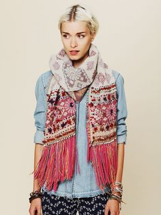 Leather Fringe Scarf at Free People Clothing Boutique