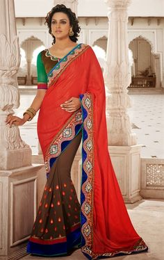 Picture of Flamboyant Brown and Red Color Fashion Designer Saree