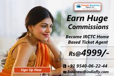 Earn huge commissions – become IRCTC ticket agent. We providing unique opportunity to people desirous to start their own railway ticket booking business. know more visit : http://www.travelbookingagent.in/