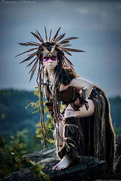 Feather Warrior Costume Headdress, Burning Man Costume, Shaman Headdress Warrior Costume, Barbarian Costume, Savage Headdress