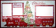 Custom Crops - Happy Christmas Tree and Train Layout Christmas Scrapbook Layouts, Scrapbook Pages, Scrapbooking, Vinyl Crafts, Paper Crafts, Christmas Train, Vinyl Paper, Train Layouts, Close To My Heart