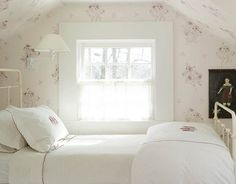 I love attic rooms with sloped ceilings! Remind me so much of my Grandparents, especially with this antique-look wallpaper. Homey and warm. Girls Bedroom, Attic Bedrooms, Cozy Bedroom, Girl Room, Bedroom Decor, Design Bedroom, Feminine Bedroom, Attic Renovation, Attic Remodel