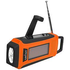 Ivation Emergency Digital Solar & Hand Crank AM/FM/NOAA WB Radio, Smart/Cell phone Charger, Bright 3 LED Flashlight