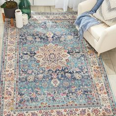 Vintage Kashan Rugs Vka By Nourison In Blue Buy Online * vintage kashan teppiche vka by nourison in blue online kaufen * * area rugs Large; Black And White area rugs Blue Persian Rug, Persian Carpet, Living Room Carpet, Rugs In Living Room, Nourison Rugs, Buy Rugs, Room Rugs, Nursery Rugs, Living Room