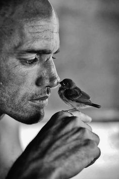 Man ✿ Bird ✿ Black & White ✿ #Photography