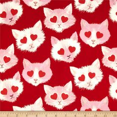 Alexander Henry Love, Luck and Liberty Lovestruck Red from @fabricdotcom  Designed by the De Leon Design Group for Alexander Henry, this fabric is perfect for quilting, apparel and home decor accents. Colors include red, white, lilac, peach, and mint.