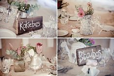 proteas in silver and glass...love the rustic wood boards. bloved-wedding-blog-real-wedding-romantic-bohemian-beach-south-africa-jules-morgan (20)