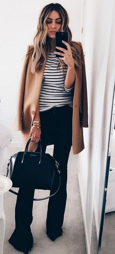 #fall #outfits ·  Brown Coat + Elephant Pants + Leather Tote