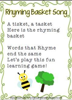 """""""Rhyming Basket"""" Song & Lakeshore Learning Vowel Teaching Tubs - Letter r Kindergarten Songs, Preschool Music, Preschool Learning, Preschool Transitions, Preschool Education, Early Education, School Rhymes, Ingles Kids, Rhyming Activities"""