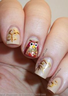 Fall themed nail art with a beautiful owl feature nail!