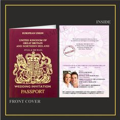 PERSONALISED WEDDING INVITATIONS-PASSPORT-ABROAD-BEACH-SAMPLE AVAILABLE in Home, Furniture & DIY, Wedding Supplies, Cards & Invitations | eBay