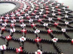 Sárközi csipke gyöngygallér Scarf Necklace, Seed Bead Necklace, Necklace Set, Seed Beads, Beaded Necklace Patterns, Beaded Jewelry, Beading Tutorials, Beading Patterns, Pearl Crafts