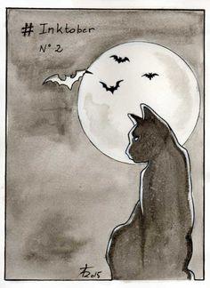 Inktober 02/10/2015 by Théo Adamec  #cat #bat #moon