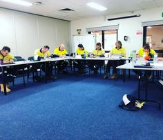 Water Corporation Training  Course: 201D Trainer: Mike  Photos showing classroom Assessment outside setting up signage assessment sliding and removing signs from Ute etc