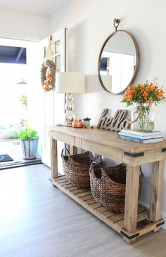 Fall Entryway Decor: Easy + Simple Ways to Welcome Fall into Your Home – 1111 Light Lane - Home Accents living room Fall Entryway Decor, Entryway Tables, Kitchen Entryway Ideas, Foyer Ideas, Decorate Console Tables, Entryway Table Decorations, Wall Ideas, Entry Way Decor Ideas, Entry Table With Mirror