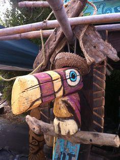 Hand carved driftwood sculpture by Tiki tOny Tiki Party, Luau Party, Outdoor Tiki Bar, Tiki Hut, Tiki Tiki, Tiki Statues, Tiki Bar Decor, Tiki Totem, Tiki Lounge