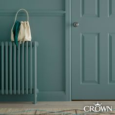 Wipe away marks and stains to keep that freshly painted look for longer. Hall & Stairs Crown Paint is 20 times more scrubbable than the standard matt emulsion. Also suitable for wood and metal. Shown here in Naughty Step. Hallway Inspiration, Hallway Ideas, Colour Inspiration, Hall Painting, Front Hallway, Stair Decor, Painted Stairs, Paint Brands, Blue Rooms
