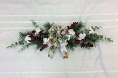 Christmas Swag, Door Swag, Door Hanger, Winter Swag for Wall, Wall Decor, Farmhouse Swag by TheBayWindowFlorist on Etsy White Ribbon, Ribbon Bows, Etsy Wreaths, Door Swag, Christmas Swags, Red Berries, Door Hangers, Red Green, Snowflakes