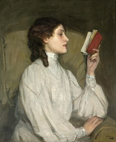 Sir John Lavery 'Miss Auras, The Red Book' c.1892, oil on canvas by Plum leaves, via Flickr