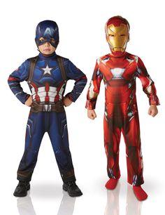 Pack déguisements Iron Man™ & Captain America™ enfant - Civil War™ : Ce lot se compose de 2 déguisements sous licence officielle Captain America™ et Iron Man™.Le déguisement d'Iron Man se compose d'une combinaison et d'un...