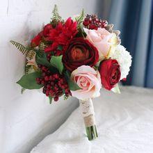 2015 европа дворец восстановление древних путей невеста букет рук красный розовый цветок розы невесты 25 см диаметр свадебный букет(China (Mainland))