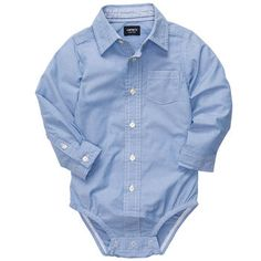 Button-Front Bodysuit Blue dress shirt onesie   ****REALLY want 9-12m AND 12-18m