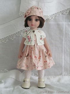 "Patsy Anne Estelle Tonner 10"" fashion pink & white OOAK 4 pc set handmade by JEC"
