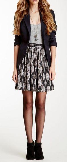 Skirt, shirt, blazer, leggings, and ankle boots.